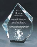 Kryształowa Statuetka GRAWEROWANA Biznes Prezent Na Rocznicę Firmy